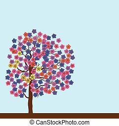 primavera, florescendo, árvore.