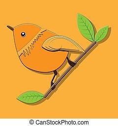 primavera, foglie, penna, ramo, uccello, vettore, rotondo, seduta, illustrazione, verde, sfondo arancia, luminoso, colletto