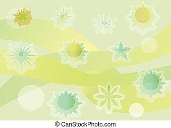 primavera, fondo, con, fantasia, irregolare, distributed, fiori gialli, astratto, stilizzato, fiore, su, verde, ondulato, zona