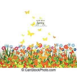 primavera, fondo, con, farfalle