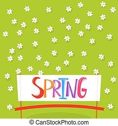 primavera, fondo, con, fiori