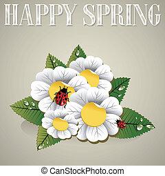 primavera, fondo, felice