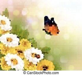 primavera, fondo., flores, y, un, butterfly., vector.