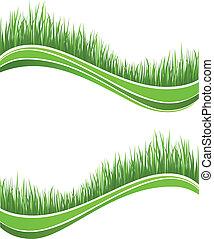 primavera, fresco, erba verde, onde