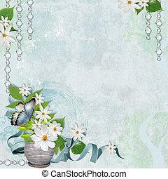 primavera, fundo, com, chamomile