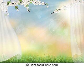 primavera, fundo, cortina