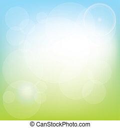 primavera, fundo, -, prado, e, luzes, vetorial