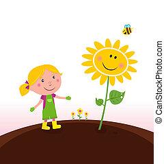 primavera, :, giardinaggio, giardiniere, bambino