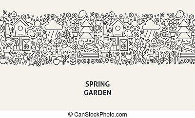 primavera, giardino, bandiera, concetto