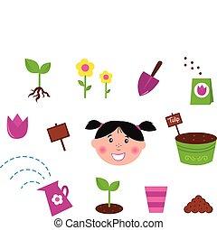 primavera, giardino, icone, &, natura