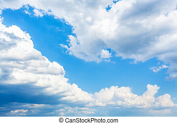 primavera, grande, blu, nubi, cielo