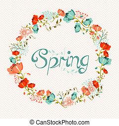 primavera, guirnalda, flor, composición
