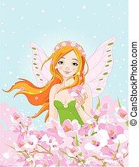 primavera, hada, y, flor, flores