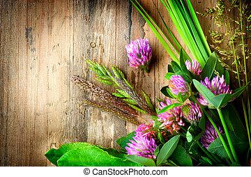 primavera, hierbas, encima, de madera, fondo., medicina...