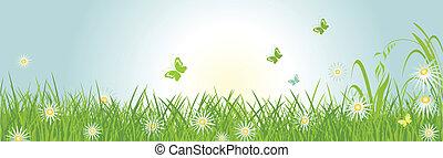 primavera, horizontal, bandera