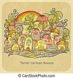 primavera, houses., cartone animato, fiaba