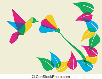 primavera, humming, flor, pássaro, tempo
