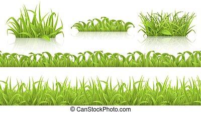 primavera, icone, seamless, vettore, modello, erba, 3d