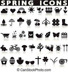primavera, iconos, set.