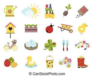 primavera, icons., plano, estilo, conjunto