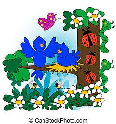 primavera, illustrazione