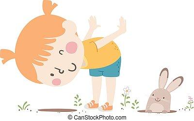 primavera, ilustração, coelhinho, menina, buraco, criança