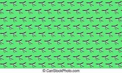 primavera, ilustración, fondo verde, patrón, libélulas, 3d