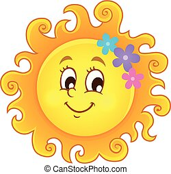 primavera, imagem, 3, tema, sol, feliz