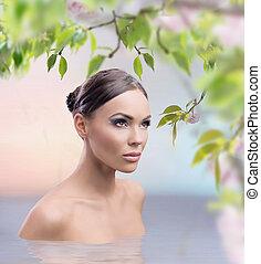 primavera, impressionante, beleza feminina, banho