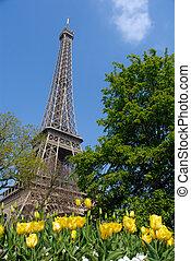 primavera, in, parigi, eiffel torreggia