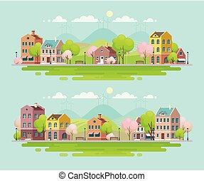 primavera, in, piccolo, town., urbano, paesaggio.