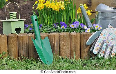primavera, jardinería, en, jardín