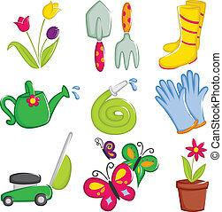 primavera, jardinería, iconos