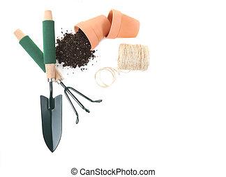 primavera, jardinería, vista, herramientas, cima