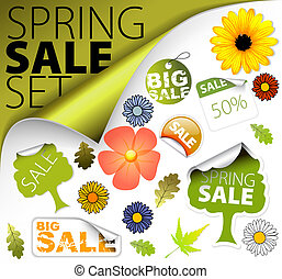 primavera, jogo, venda, elementos, fresco