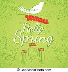 primavera, linea, bacche, arte, uccello