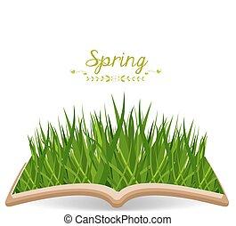 primavera, livro, capim