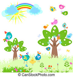 primavera, luminoso, arcobaleno