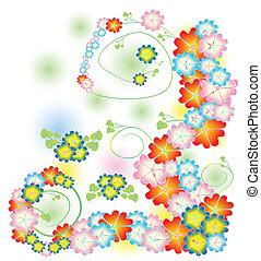primavera, luminoso, fiori, composit