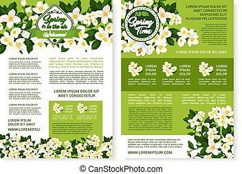 primavera, manifesto, vettore, disegno, tempo, fiori