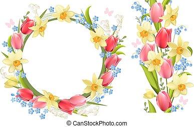 primavera, marco, flores, frontera, seamless