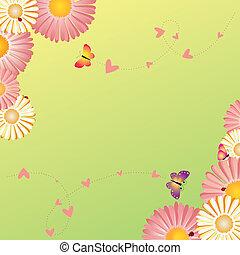 primavera, marco, flores, mariposas, mariquitas