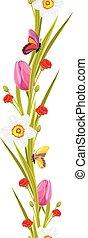primavera, mariposas, flores