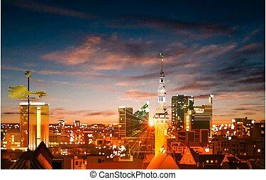 primavera, marrone, blu, tallinn, astratto, panorama, fondo, tramonto