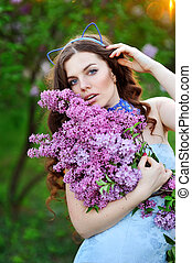 primavera, menina, com, lilás, flores