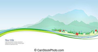 primavera, mont, vector, bandera, blan