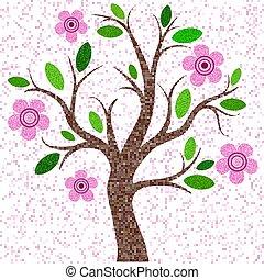 primavera, mosaico, árvore, com, flores côr-de-rosa