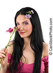 primavera, mujer, flor