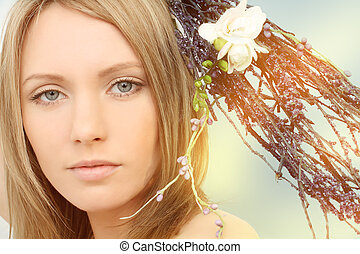 primavera, mujer, retrato