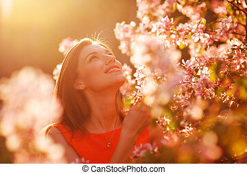 primavera, mulher, jardim, bonito